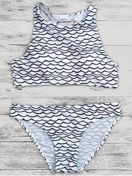 Figura para recortar ondulado impressão colhida Bikini Set - Preto L