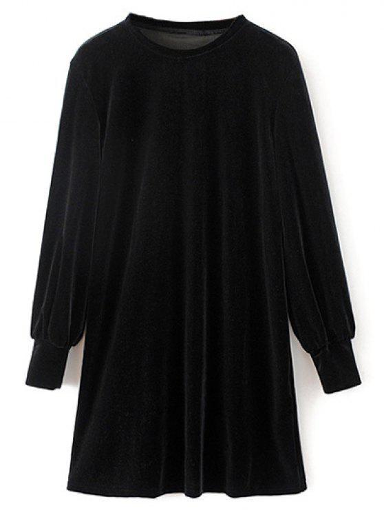 sale Velvet Tunic Dress - BLACK M