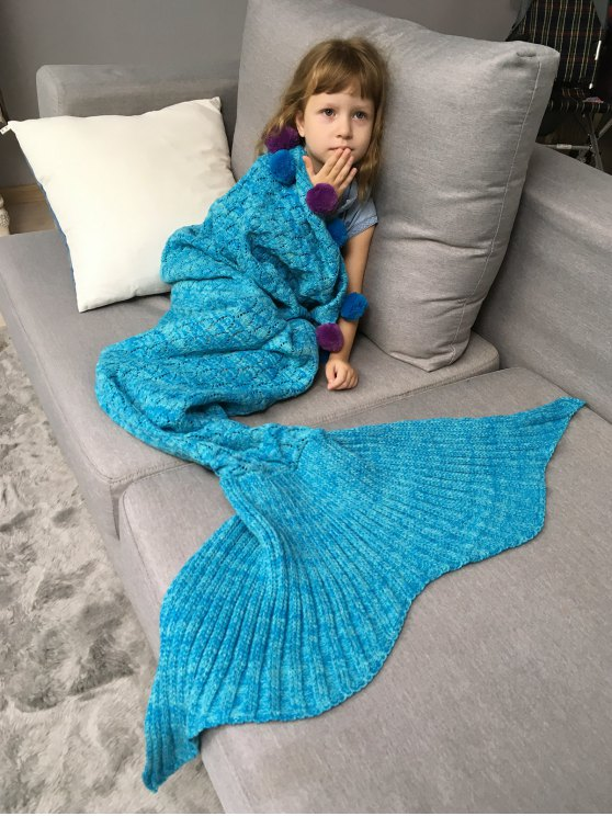 affordable Pineapple Crochet Kids' Mermaid Blanket Throw - LAKE BLUE