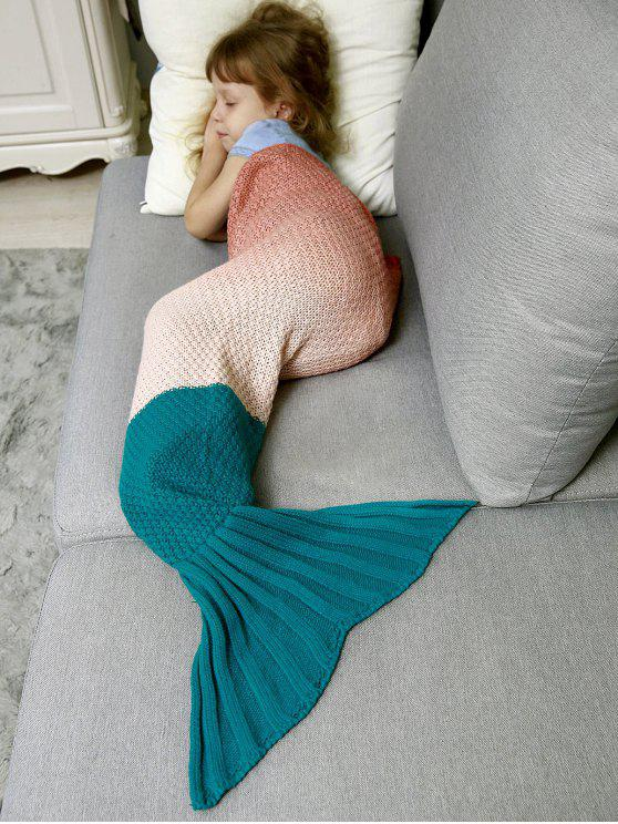 women's Kids' Ombre Crochet Knit Mermaid Blanket Throw - ORANGEPINK