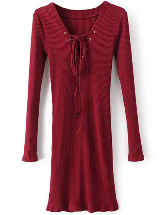 unique Long Sleeve Ribbed Lace Up Bodycon Dress - BURGUNDY L