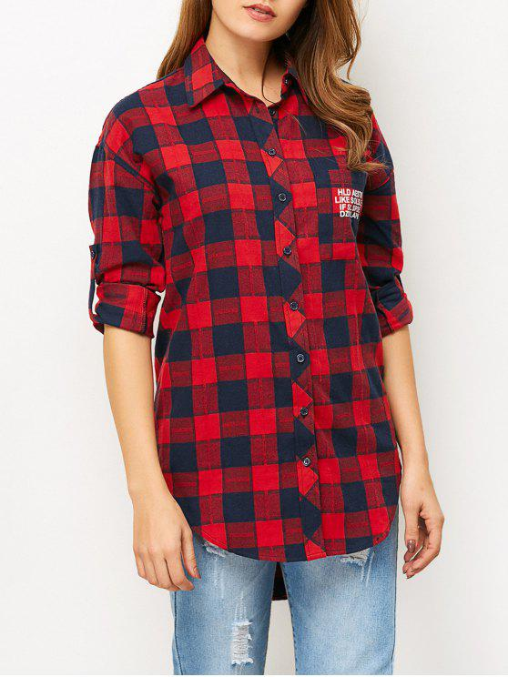 outfit Letter Checked High-Low Shirt - RED M