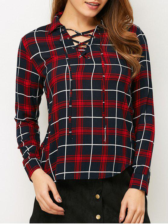 chic Checked Lace-Up Shirt - RED M