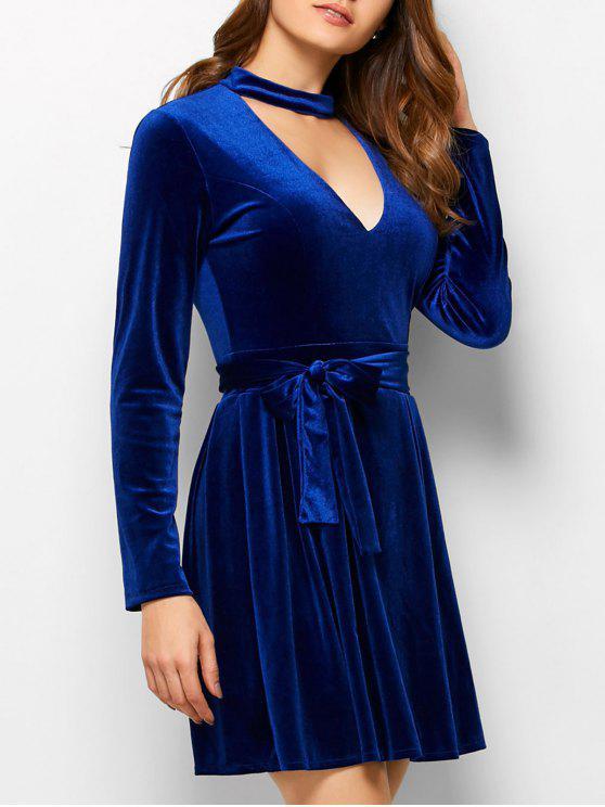 new Velvet Choker Belted Mini Dress - BLUE S