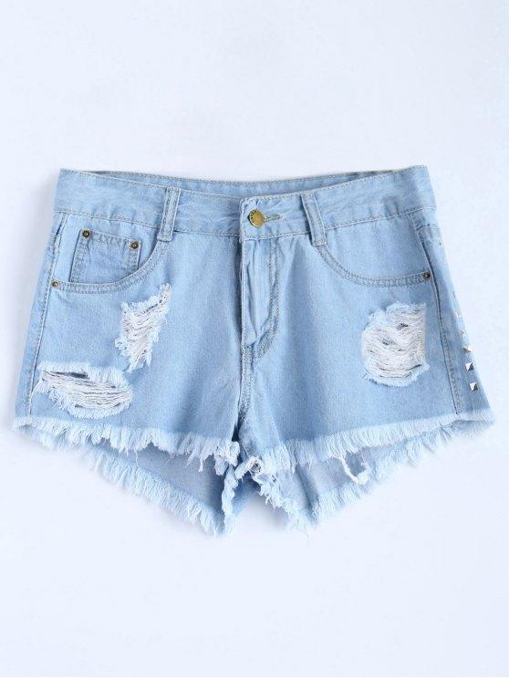 Lavar la luz del remache rasgados pantalones cortos de mezclilla - Azul Claro S