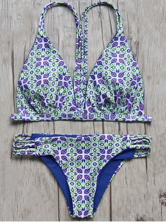 womens Vintage Printed Cami Bikini Set - COLORMIX S