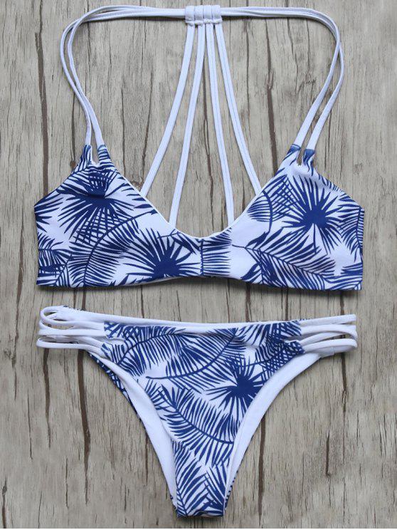 Blatt-Druck Strappy zurück Bikini - Blau & Weiß S