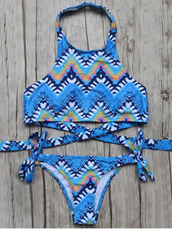 Bikini Enlazado Arriba Cuello Diseño Zigzag - Azul L