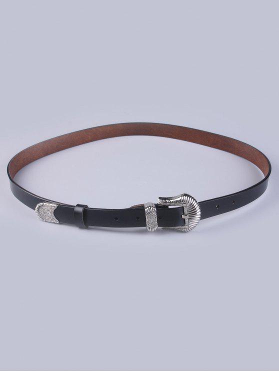 دبوس مشبك خمر الخصر حزام - أسود