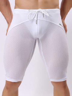 Skinny Drawstring Panel Mesh Sport Shorts - White Xl