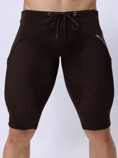 Skinny Drawstring Panel Mesh Sport Shorts - Coffee Xl