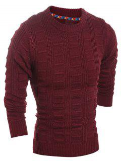 Slim Fit Crew Neck Patterned Knit Sweater - Wine Red M