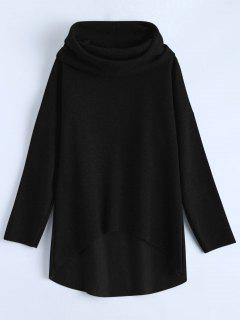 High-Low Tunic Hoodie - Black S