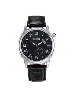 Faux Leather Roman Numerals Vintage Watch - Black