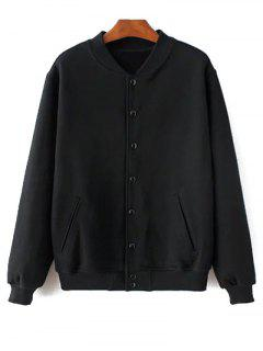 Button Up Baseball Jacket - Black Xxs