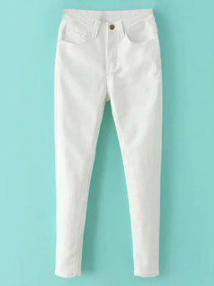 High Waisted Zip Fly Jeans - White S