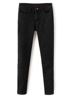 Super Elastic Wool Blend Pencil Jeans - Black M