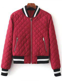 Zip Up Padded Pilot Jacket - Wine Red L