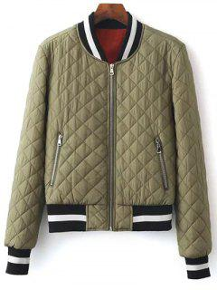 Zip Up Padded Pilot Jacket - Olive Green S
