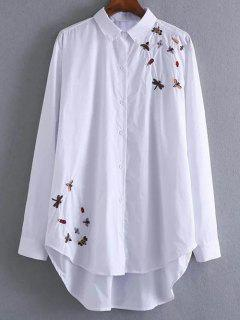 High Low Insects Embroidered Shirt - White S