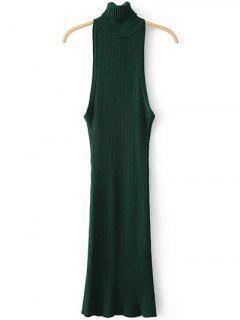 Vestido De Suéter Sin Mangas De Cuello De Rodillo - Verde