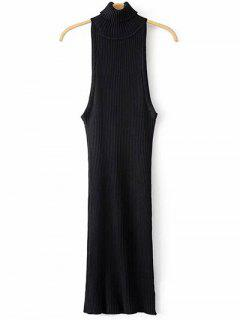 Turtleneck Sleeveless Sweater Dress - Black