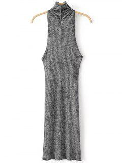 Turtleneck Sleeveless Sweater Dress - Gray