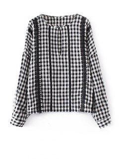 Keyhole Gingham Check Blouse - White And Black S