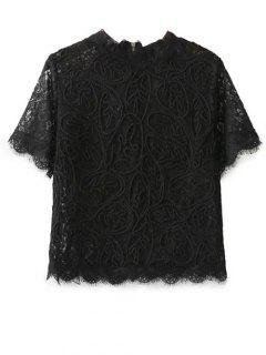 Mock Neck Lace Top - Black S