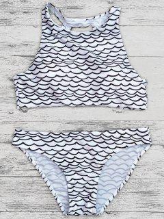 Cut Out Wavy Print Cropped Bikini Set - Black S