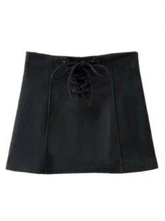 Faux Suede Lace Up Mini Skirt - Black S