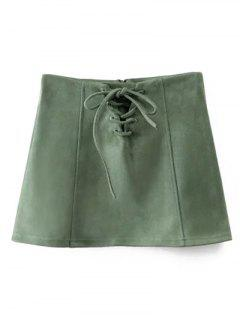 Faux Suede Lace Up Mini Skirt - Green S