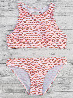 Cut Out Wavy Print Cropped Bikini Set - Red M