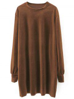 Velvet Tunic Dress - Brown S