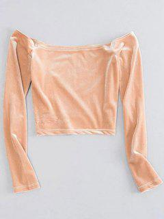 Off The Shoulder Cropped Velvet Top - Yellowish Pink S