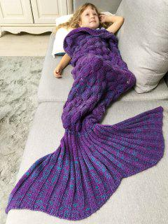 Chunky Crochet Knit Kids' Mermaid Blanket Throw - Purple