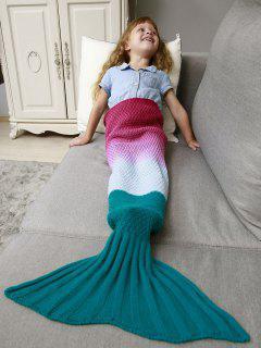 Kids' Ombre Crochet Knit Mermaid Blanket Throw - Deep Pink