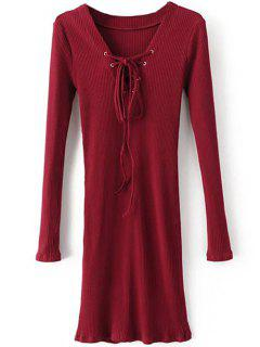 Long Sleeve Ribbed Lace Up Bodycon Dress - Burgundy S