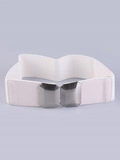 Smooth Alloy Buckle Elastic Waist Belt - White
