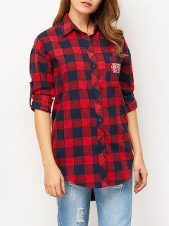 Letter Checked High-Low Shirt - Red L