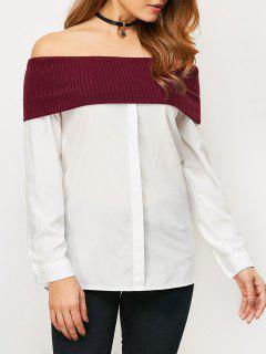 Knitting-Panel Weg Von Der Schulter Bluse - Weiß S