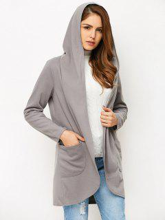 Cotton Open Front Coat - Gray Xl