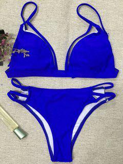 Haut De Bikini Noeud Au Dos Et Bas En Cordon - Bleu L