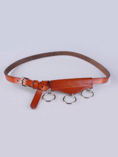 Faux Leather Waist Belt - Light Brown
