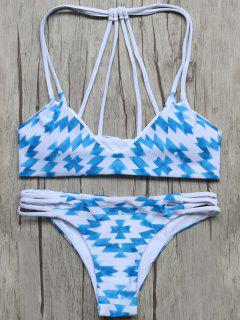 Geometric Pattern Padded Stringy Bikini - Blue And White L