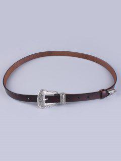 Vintage Pin Buckle Waist Belt - Maroon