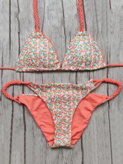 Small Floral Braided String Bikini Set - Floral S