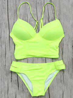 Haut De Bikini Palangre à Bretelles Et Bas - Fluorescente Verte S