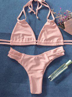 String Crossover Bikini Set - Pinkbeige L