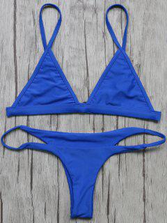 Unlined Plunge Bikini Top And Thong Bottoms - Blue S